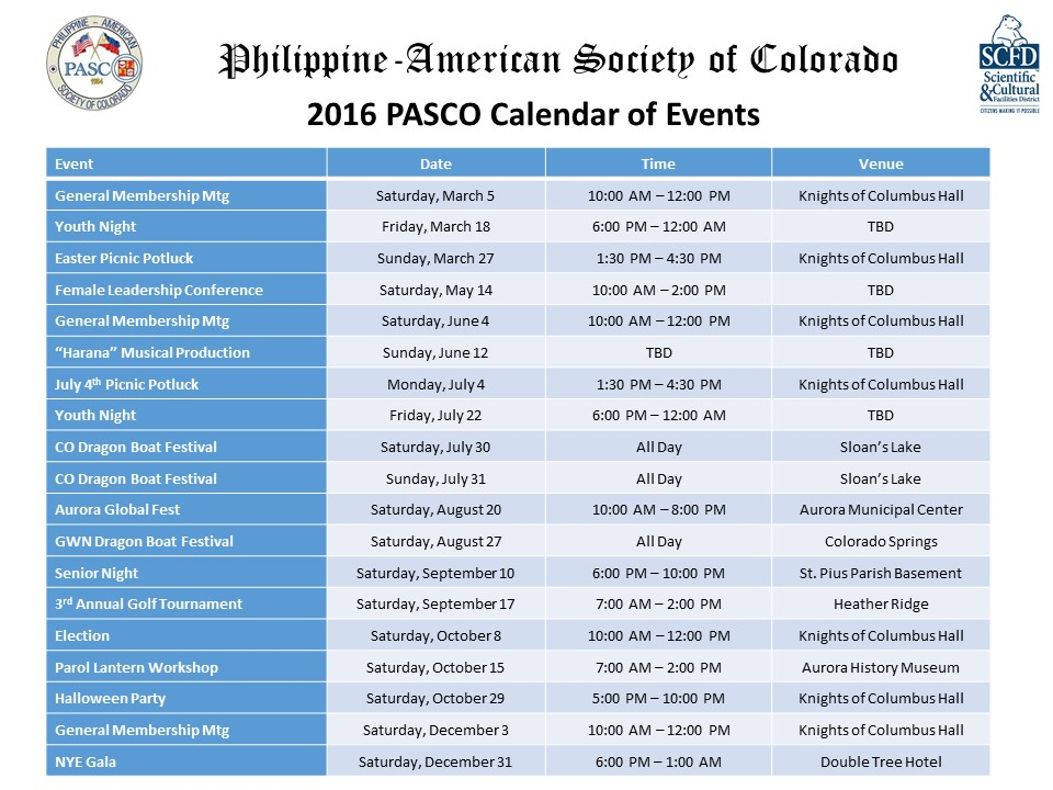 2016 PASCO Calendar of Events
